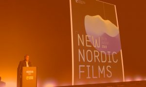 Petri Kemppinen is speaking at the opening of New Nordic Films in Haugesund in 2019.