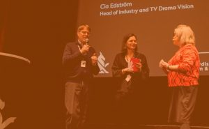 Petri Kemppinen and Cia Edström are speaking on stage at the TV Drama Vision in Göteborg, moderated by Wendy Mitchell.