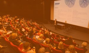Petri Kemppinen is giving an opening speech for 200 film and television professionals at Nordic Talents event in Copenhagen 2019.